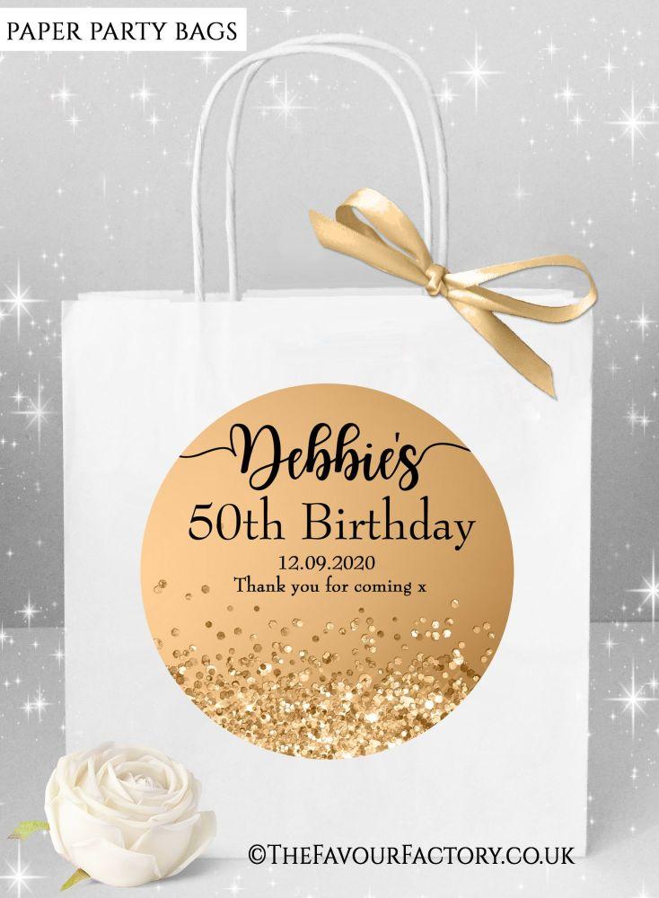 Birthday Party Bags Gold Glitter Confetti Sparkles x1