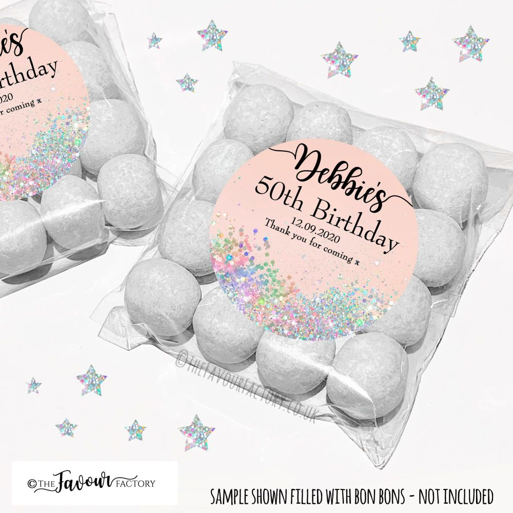 Birthday Party Favours Sweet Bags Kits Pale Peach Iridescent Glitter x12