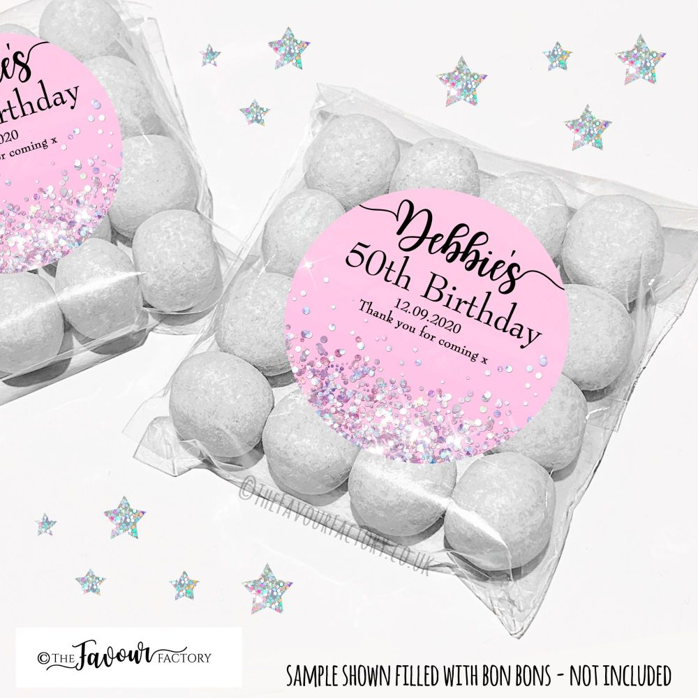 Birthday Party Favours Sweet Bags Kits Pink Iridescent Glitter x12
