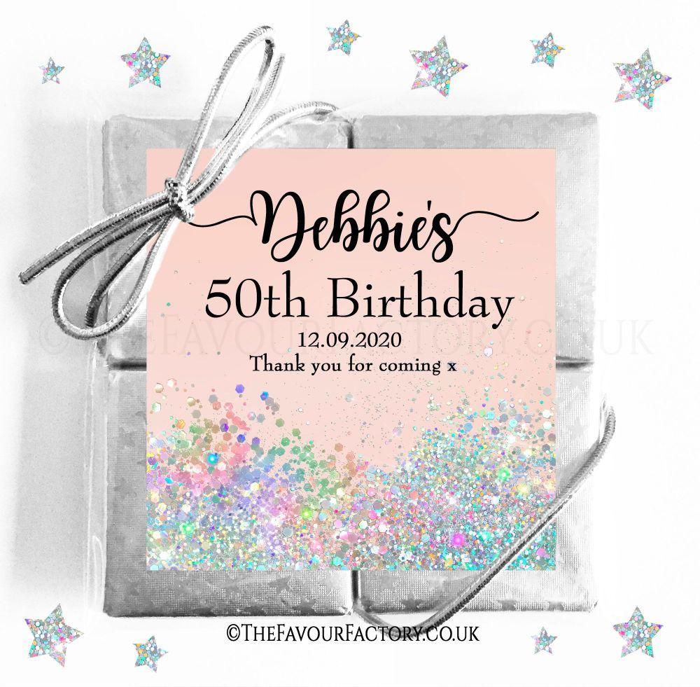 Birthday Party Chocolate Quads Iridescent Glitter x1