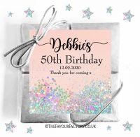 Birthday Party Chocolate Quads Pale Peach Iridescent Glitter x1