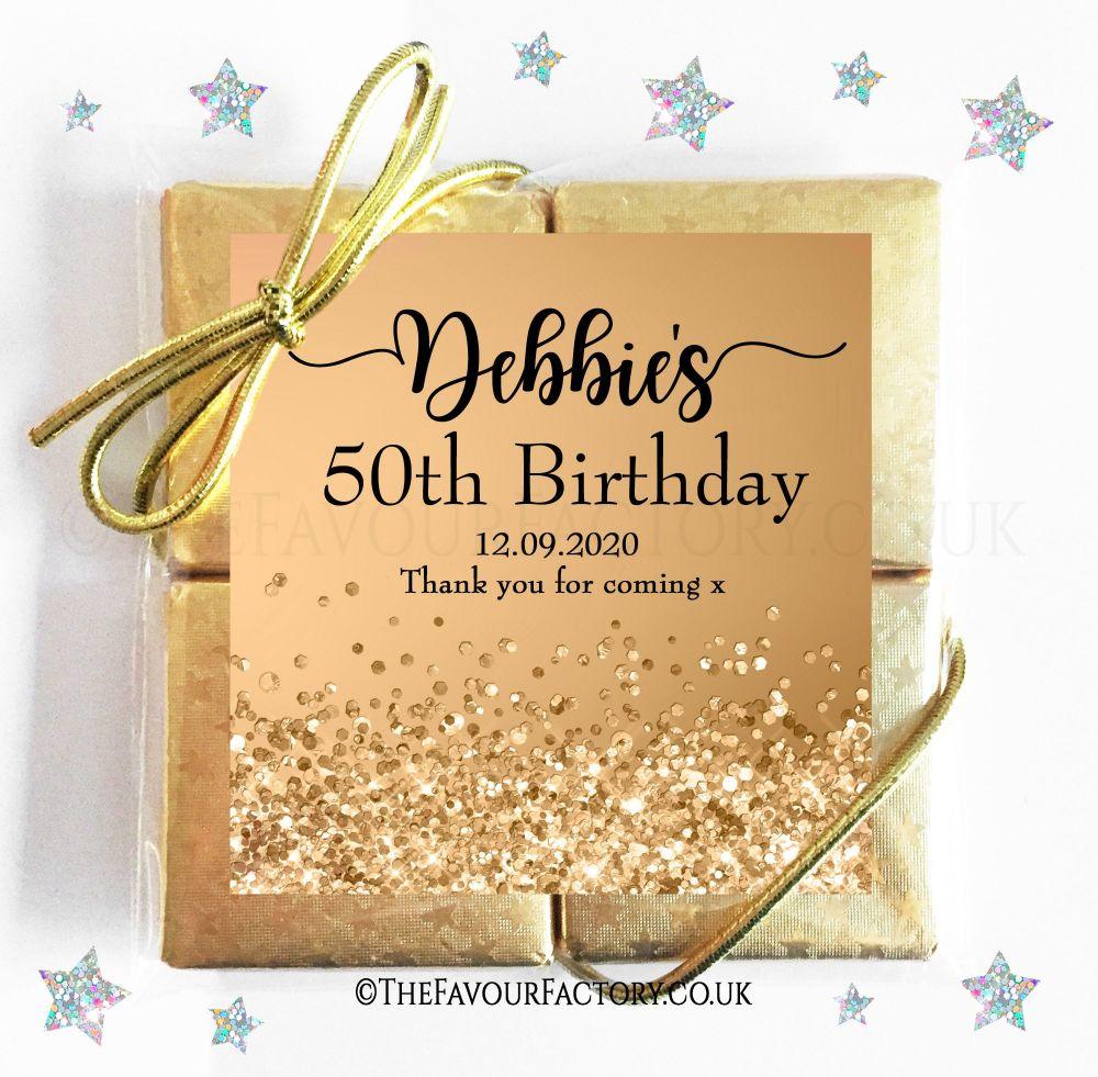 Birthday Party Chocolate Quads Gold Glitter Confetti Sparkles x1