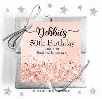 Birthday Party Chocolate Quads Rose Gold Glitter Confetti Sparkles x1