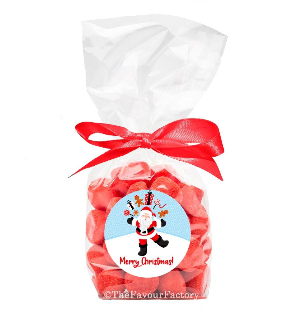 Christmas Ribbon Tie Bags Kits Juggling Santa x12