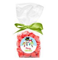 Christmas Ribbon Tie Bags Kits Snowman Family x12