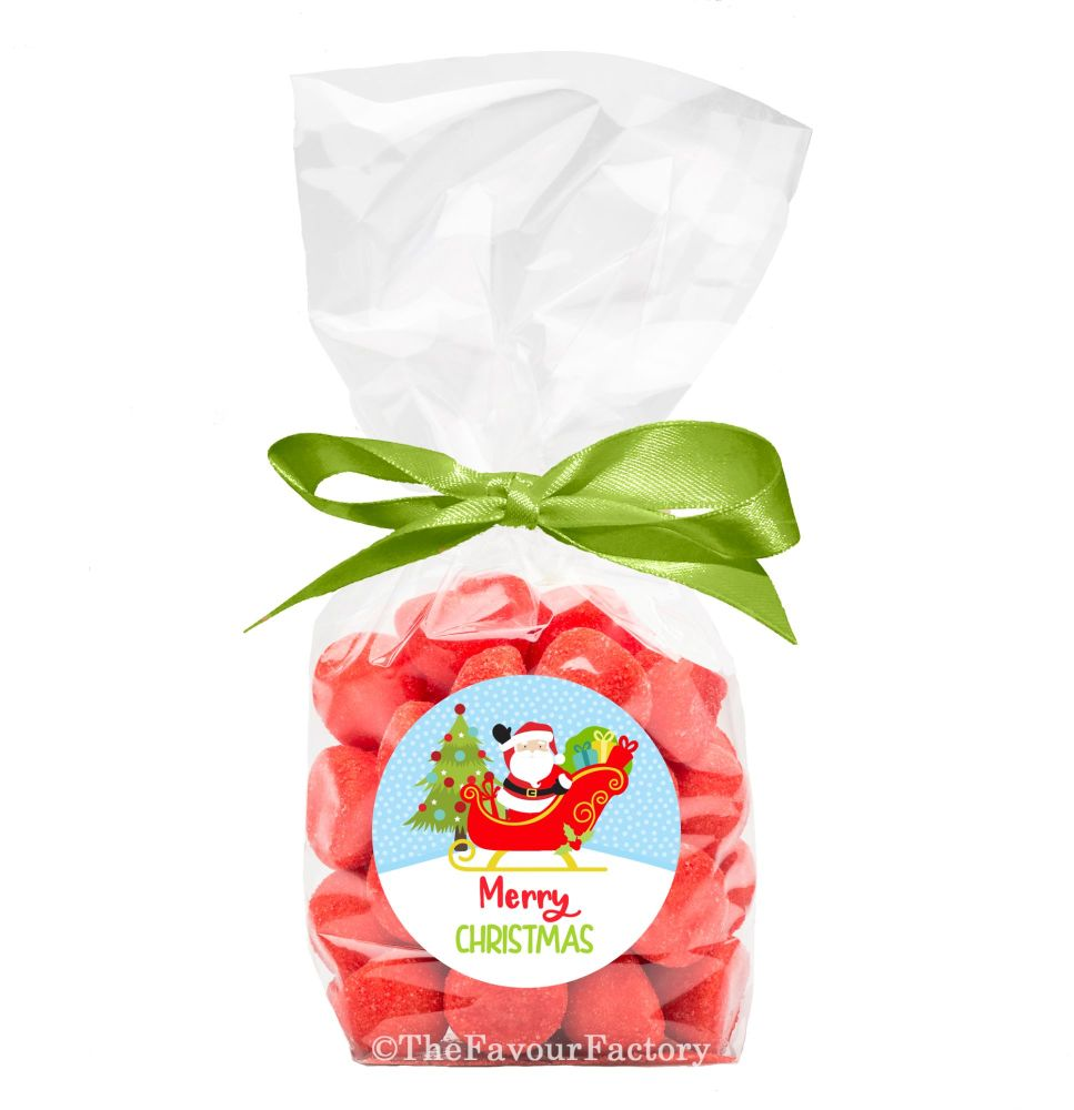 Christmas Ribbon Tie Bags Kits Santa In Sleigh x12
