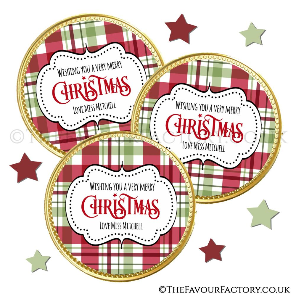 Chocolate Coins Traditional Plaid x10