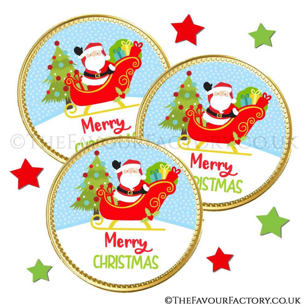 Chocolate Coins Santa In Sleigh x10