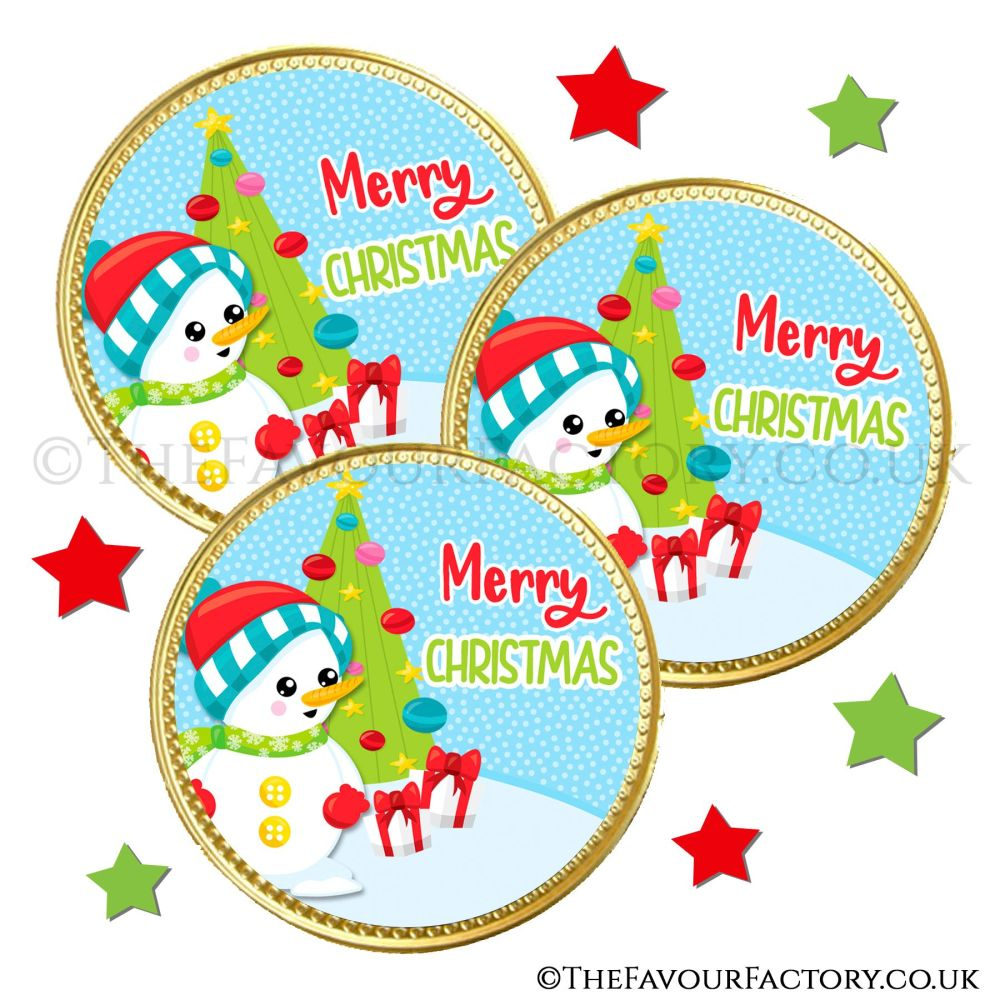 Chocolate Coins Snowman Buttons x10