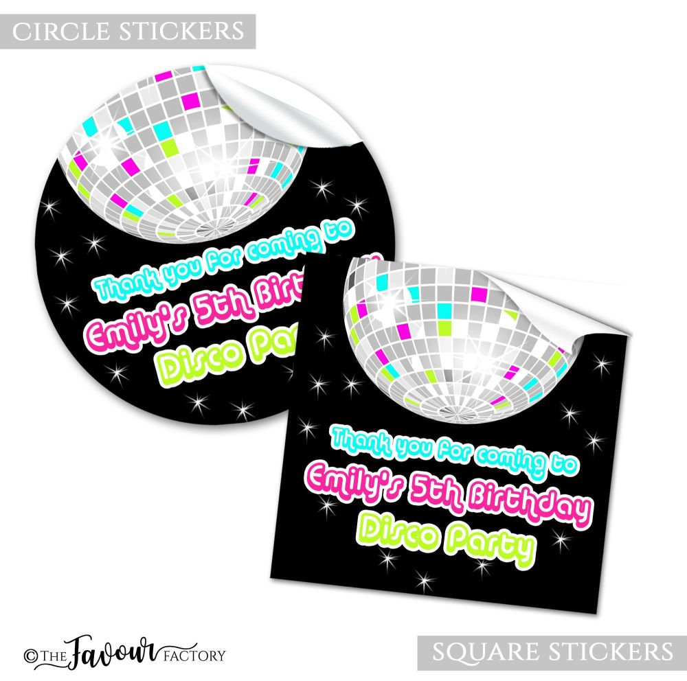 Personalised Stickers Birthday Party Retro Disco