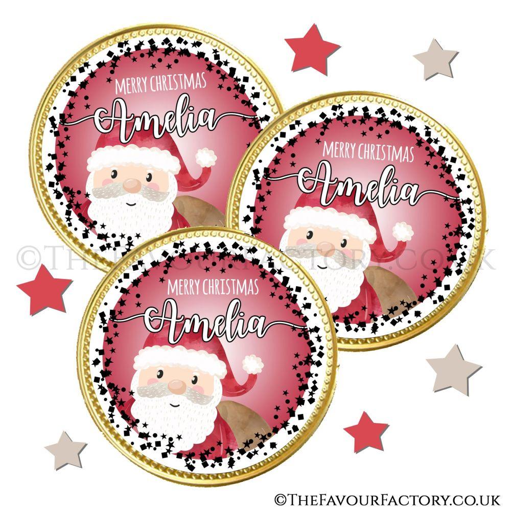 Chocolate Coins Santa Confetti x10