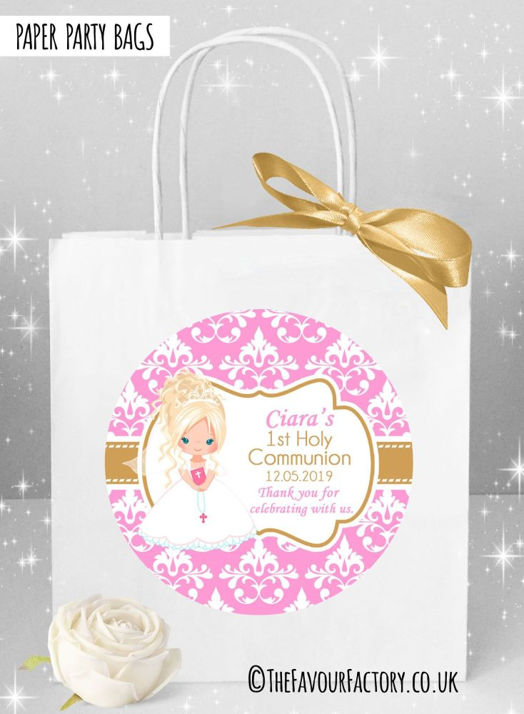 Holy Communion Party Bags Blonde Hair Girl Damask x1