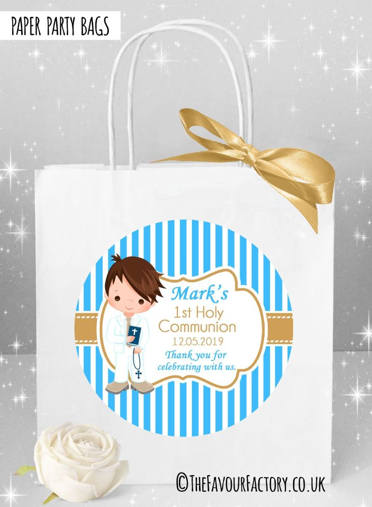 Holy Communion Party Bags Brunette Hair Boy Stripes x1