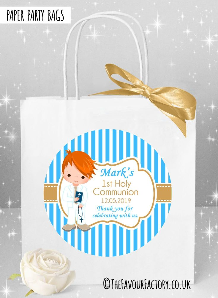 Holy Communion Party Bags Ginger Hair Boy Stripes x1