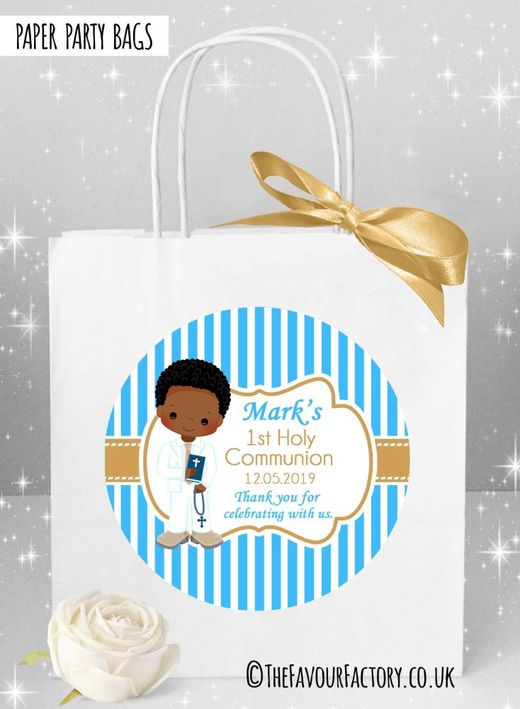 Holy Communion Party Bags Afro Hair Boy Stripes x1