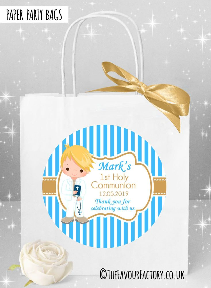 Holy Communion Party Bags Blonde Hair Boy Stripes x1