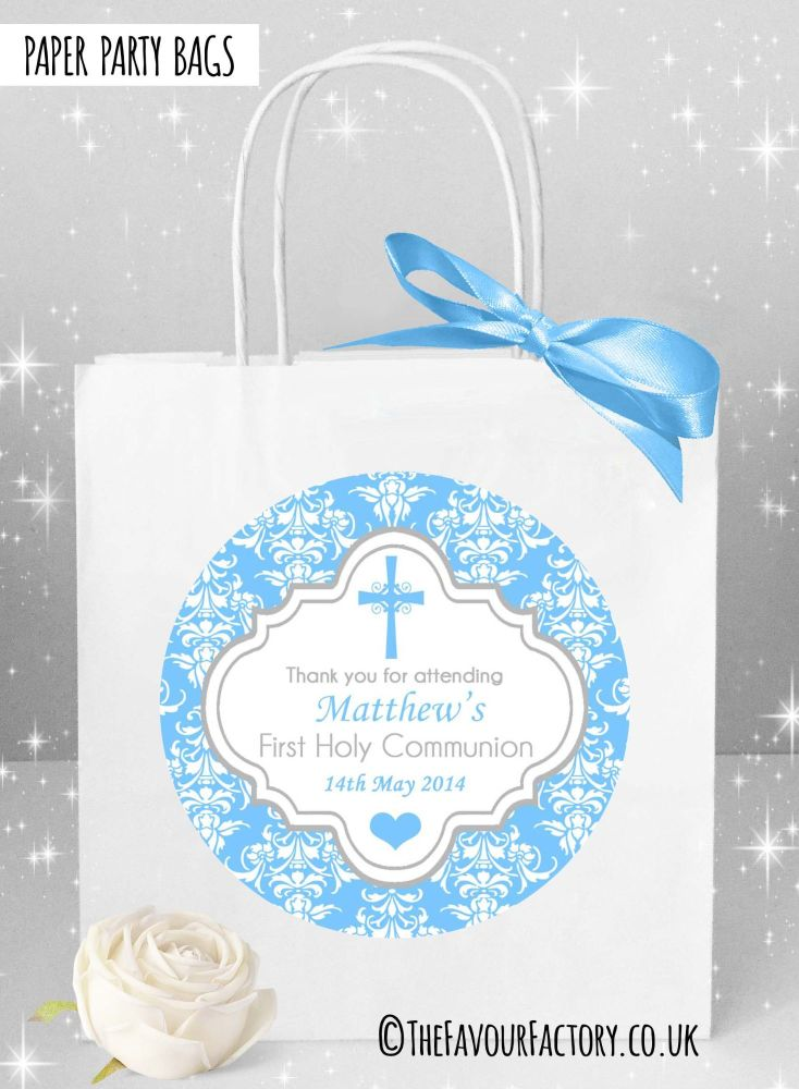 Holy Communion Party Bags Blue Damask Cross x1
