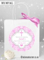 Holy Communion Party Bags Pink Damask Cross x1