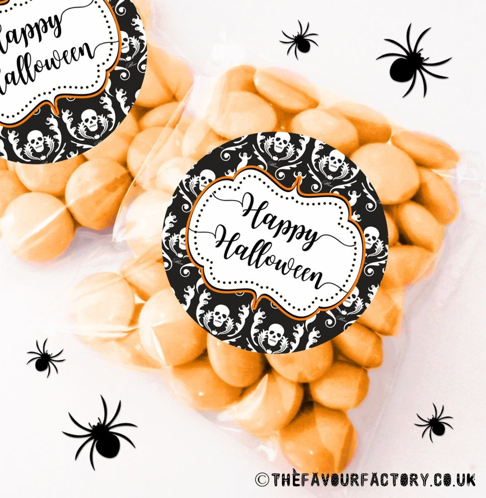 Halloween Sweet Bags Damask Skulls x12