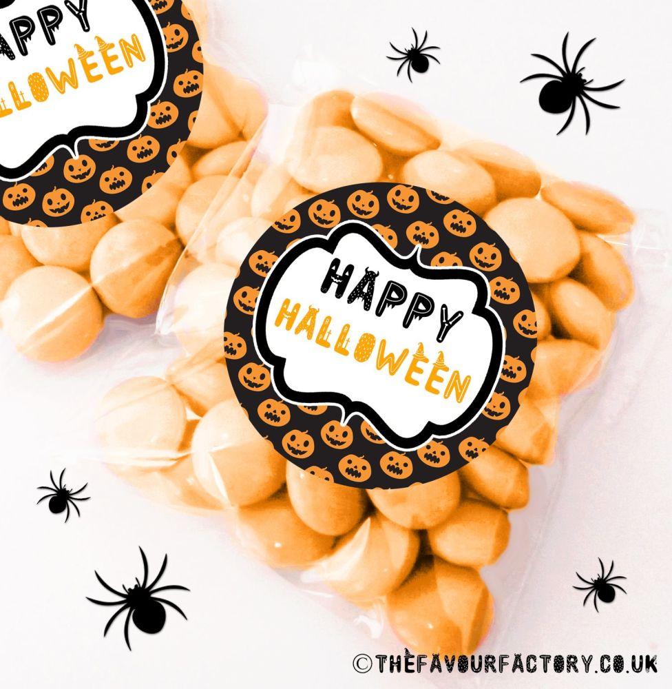 Halloween Sweet Bags Pumpkin Faces x12