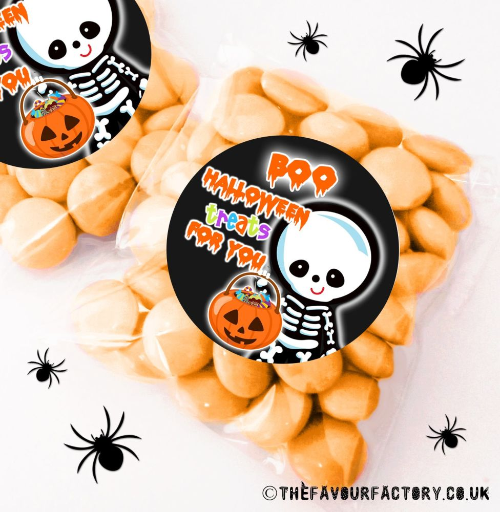 Halloween Sweet Bags Boo Skeleton x12