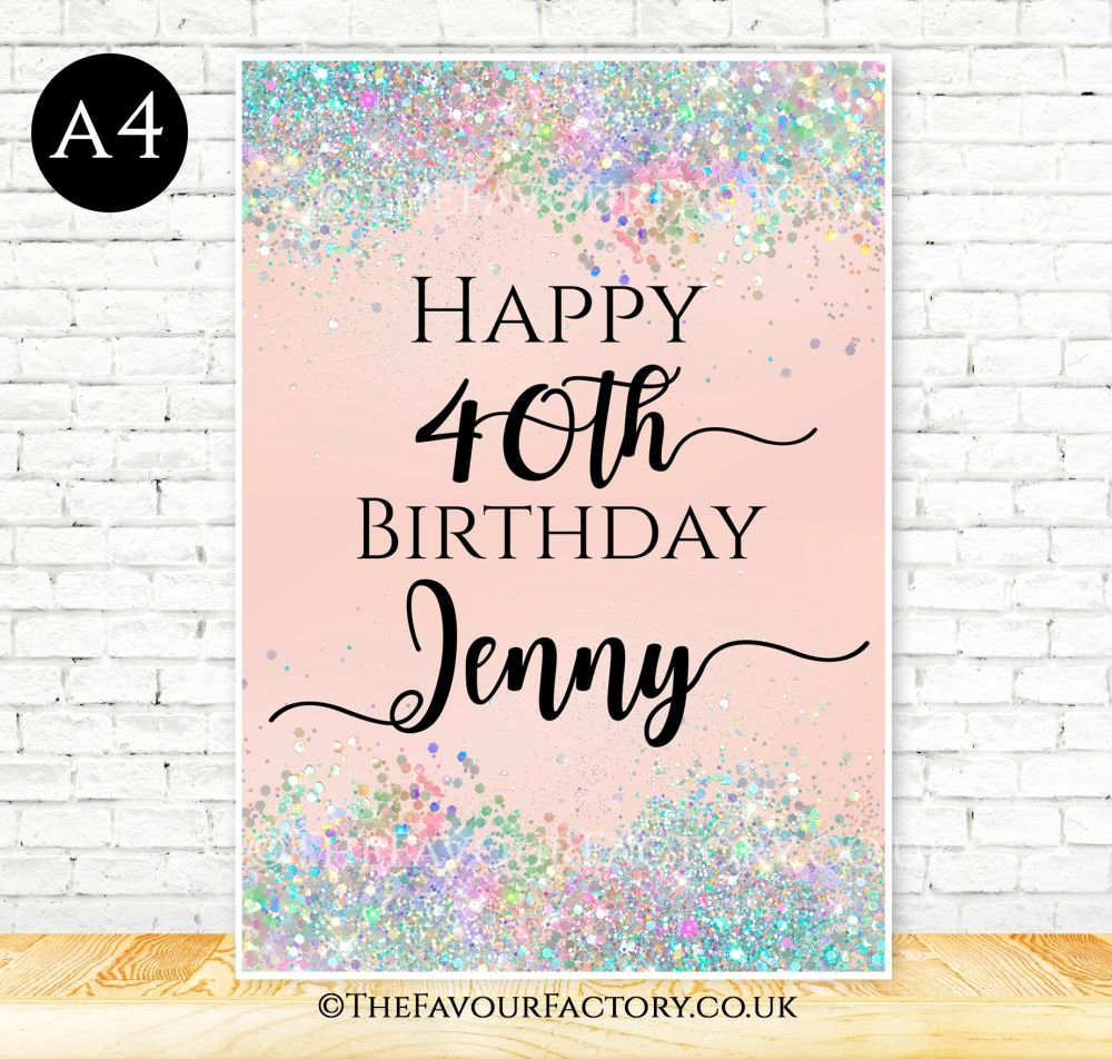 Birthday Table Sign Iridescent Glitter