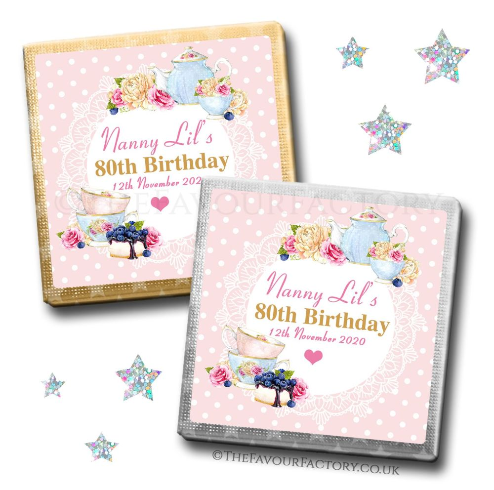 Birthday Favours Chocolates Vintage Tea Party x10