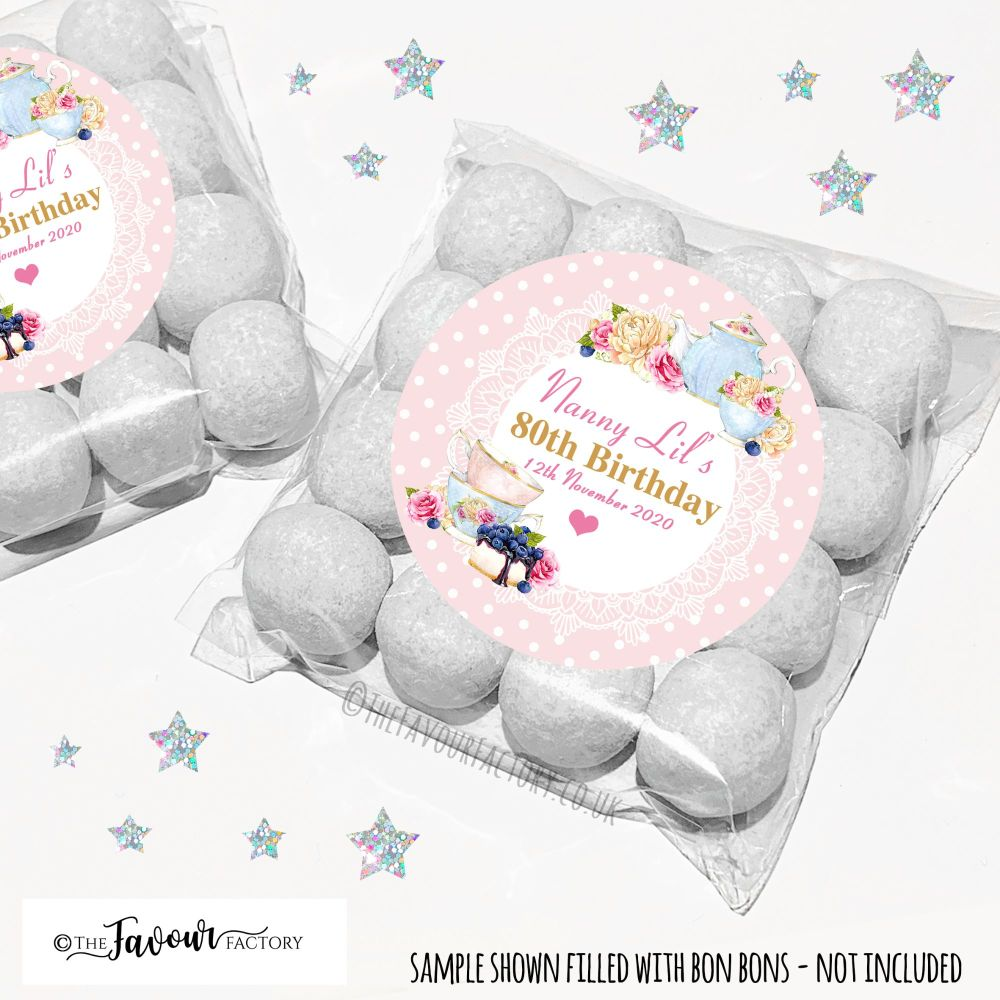 Birthday Sweet Bags Kits - Vintage Tea Party x12