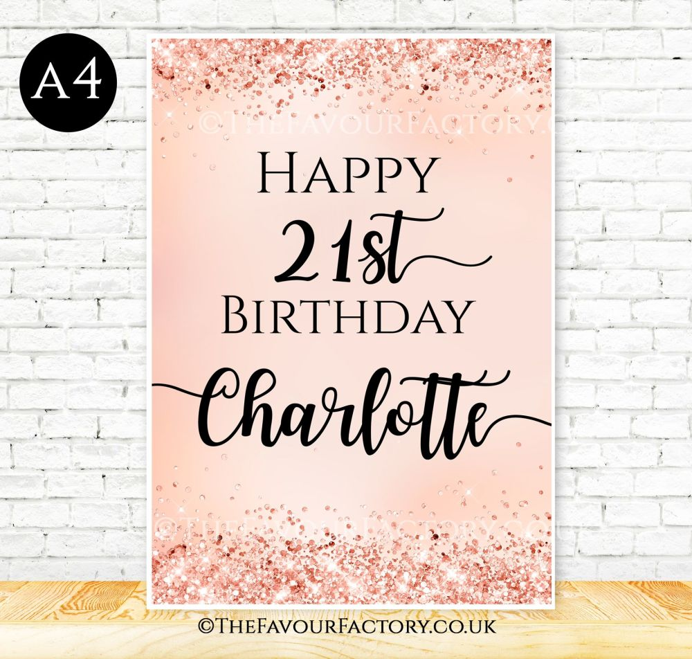 Birthday Table Sign Rose Gold Glitter Confetti