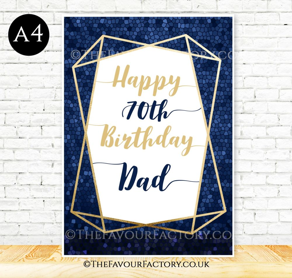 Birthday Table Sign Gold Foil Frame Navy Mosaic