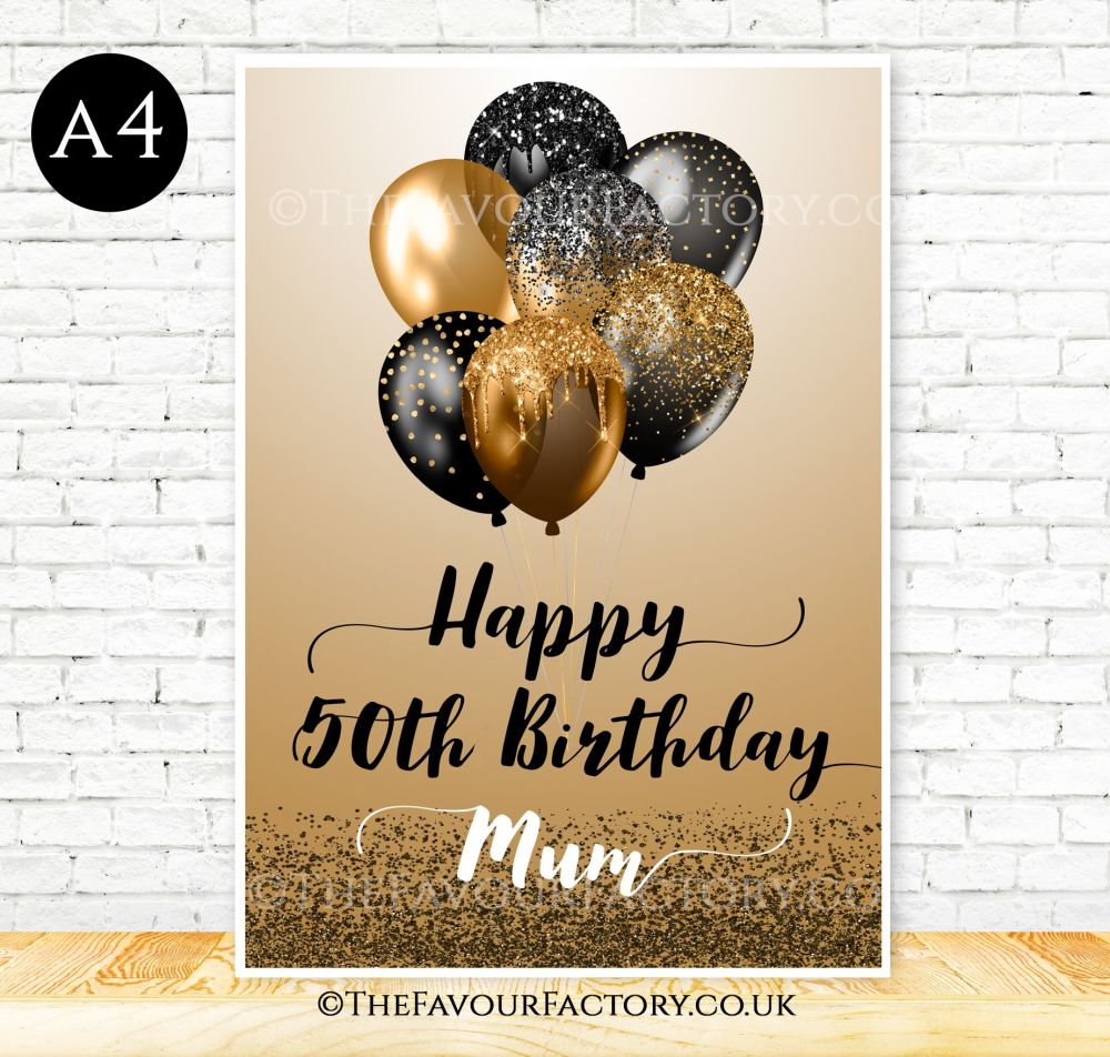 Birthday Table Sign Black & Gold Glitter Balloons