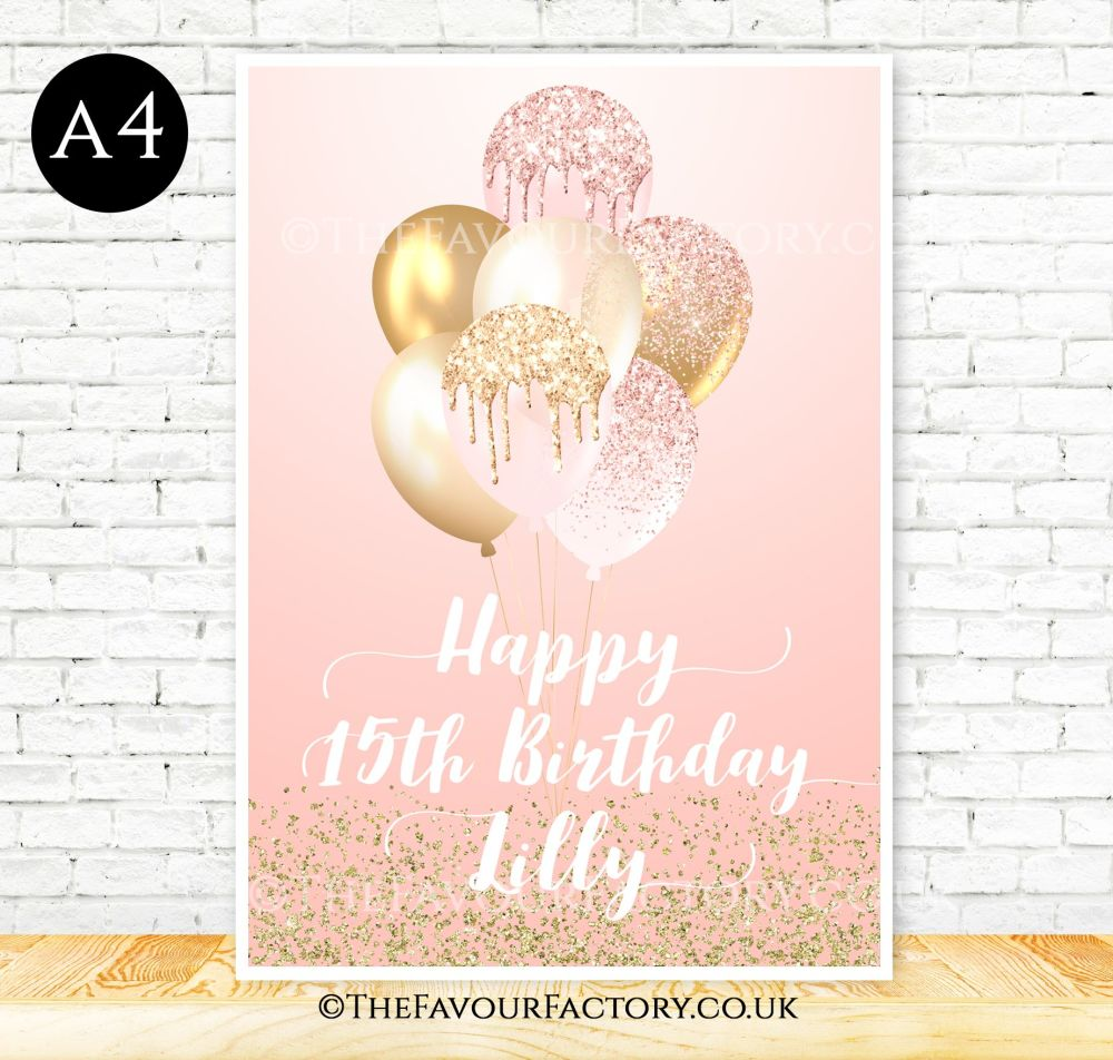 Birthday Table Sign Blush & Gold Glitter Balloons