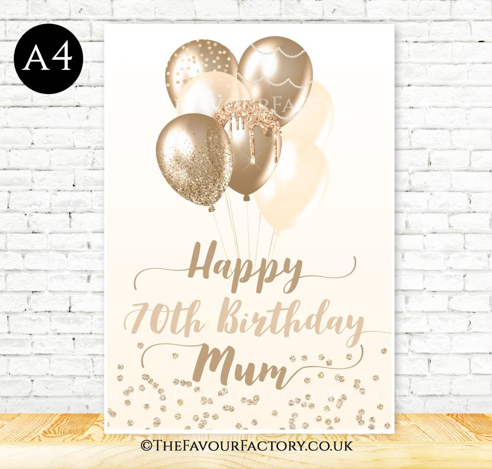 Birthday Table Sign Champagne & Gold Glitter Balloons