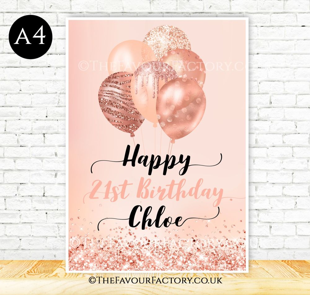 Birthday Table Sign Rose Gold Glitter Balloons