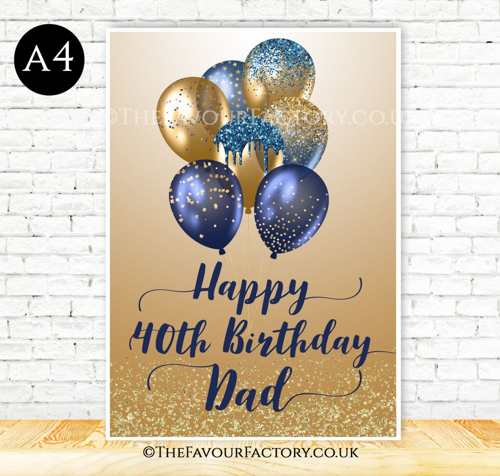Birthday Table Sign Blue & Gold Glitter Balloons