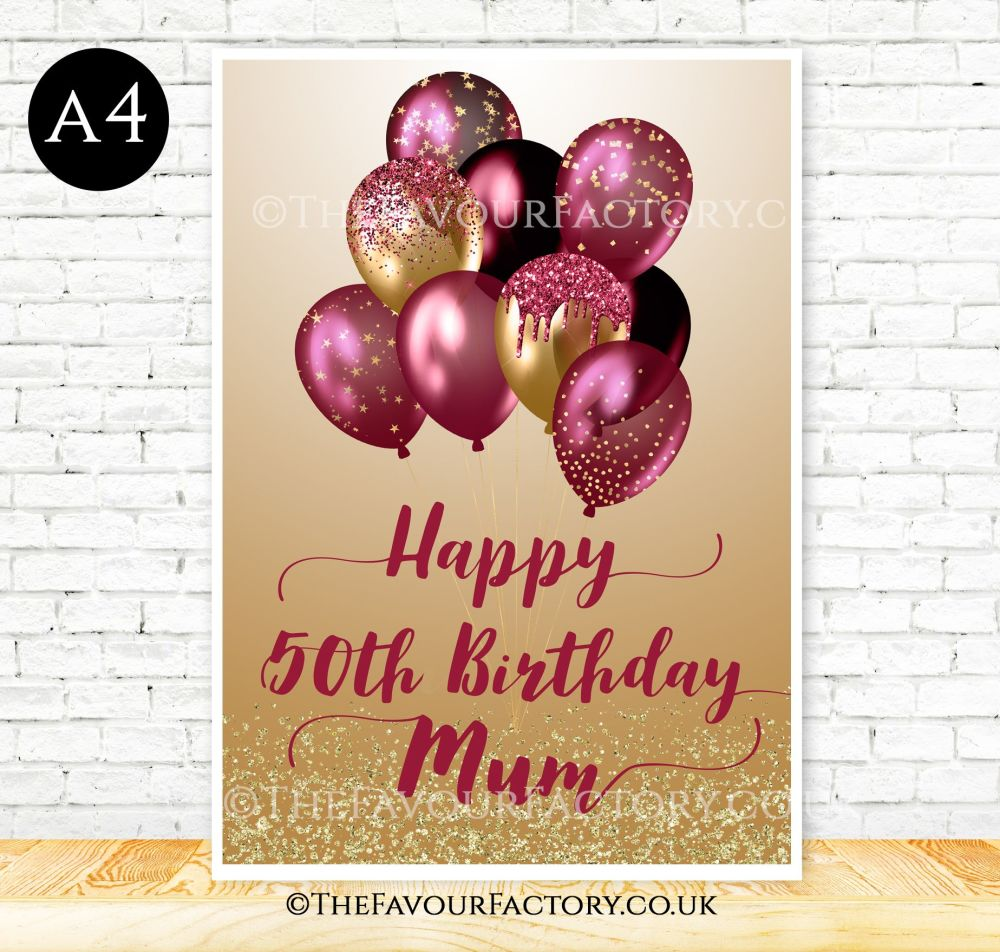 Birthday Table Sign Burgundy & Gold Glitter Balloons
