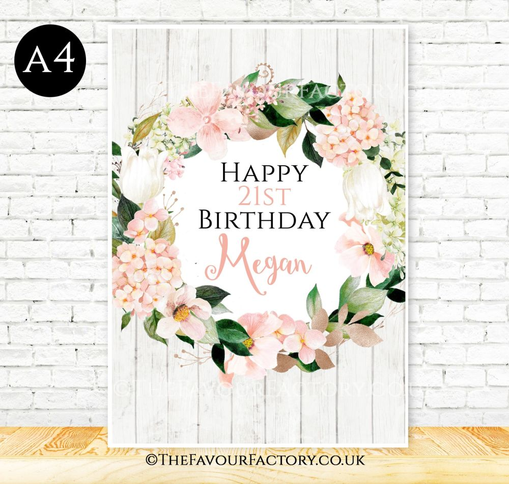 Birthday Table Sign Blush Hydrangeas