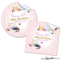 Personalised Happy Birthday Stickers Vintage Tea Party