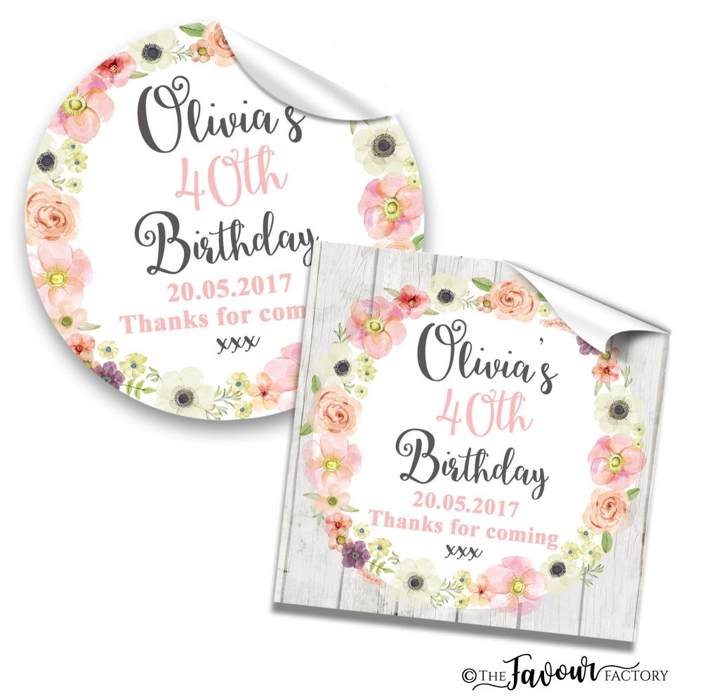 Watercolour Floral Wreath Adult Birthday Party Stickers