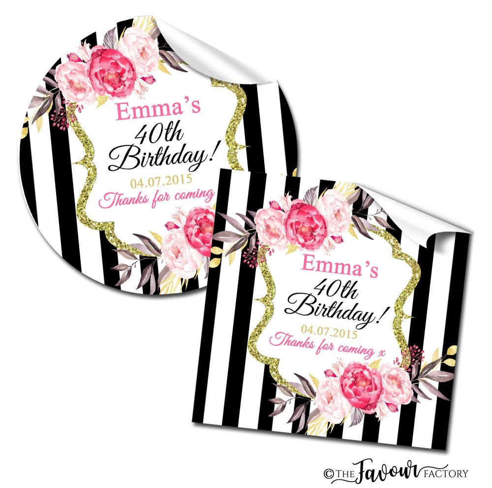 Personalised Happy Birthday Stickers Black Stripe Roses