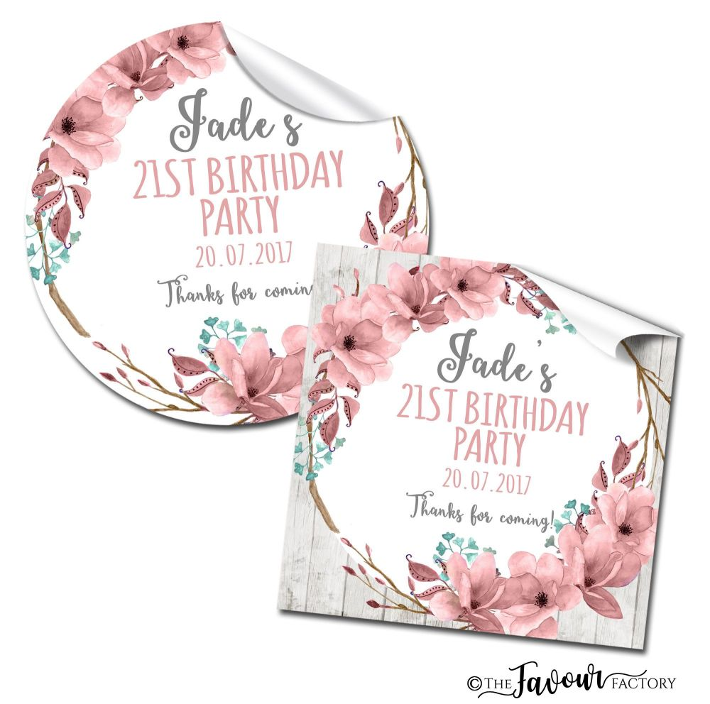Personalised Birthday Stickers Boho Floral Wreath