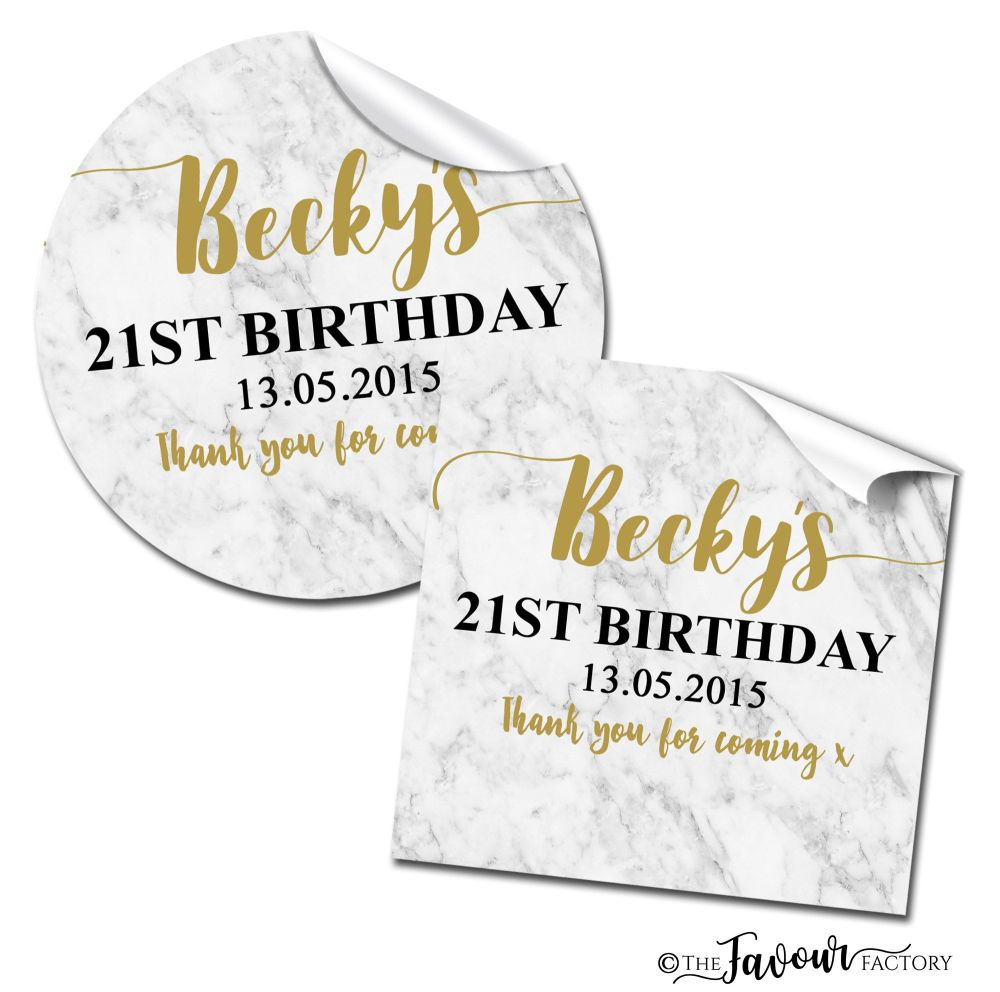 Personalised Happy Birthday Stickers Marble Print