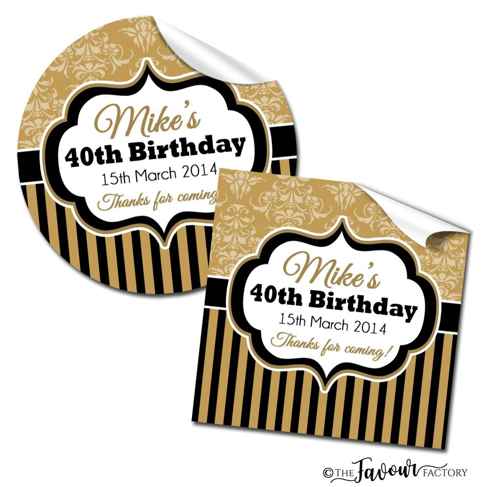 Personalised Happy Birthday Stickers Damask Stripe