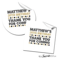 Personalised Adult Birthday Stickers Celebration Stars