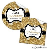 Personalised Happy Birthday Stickers Gold Glitter