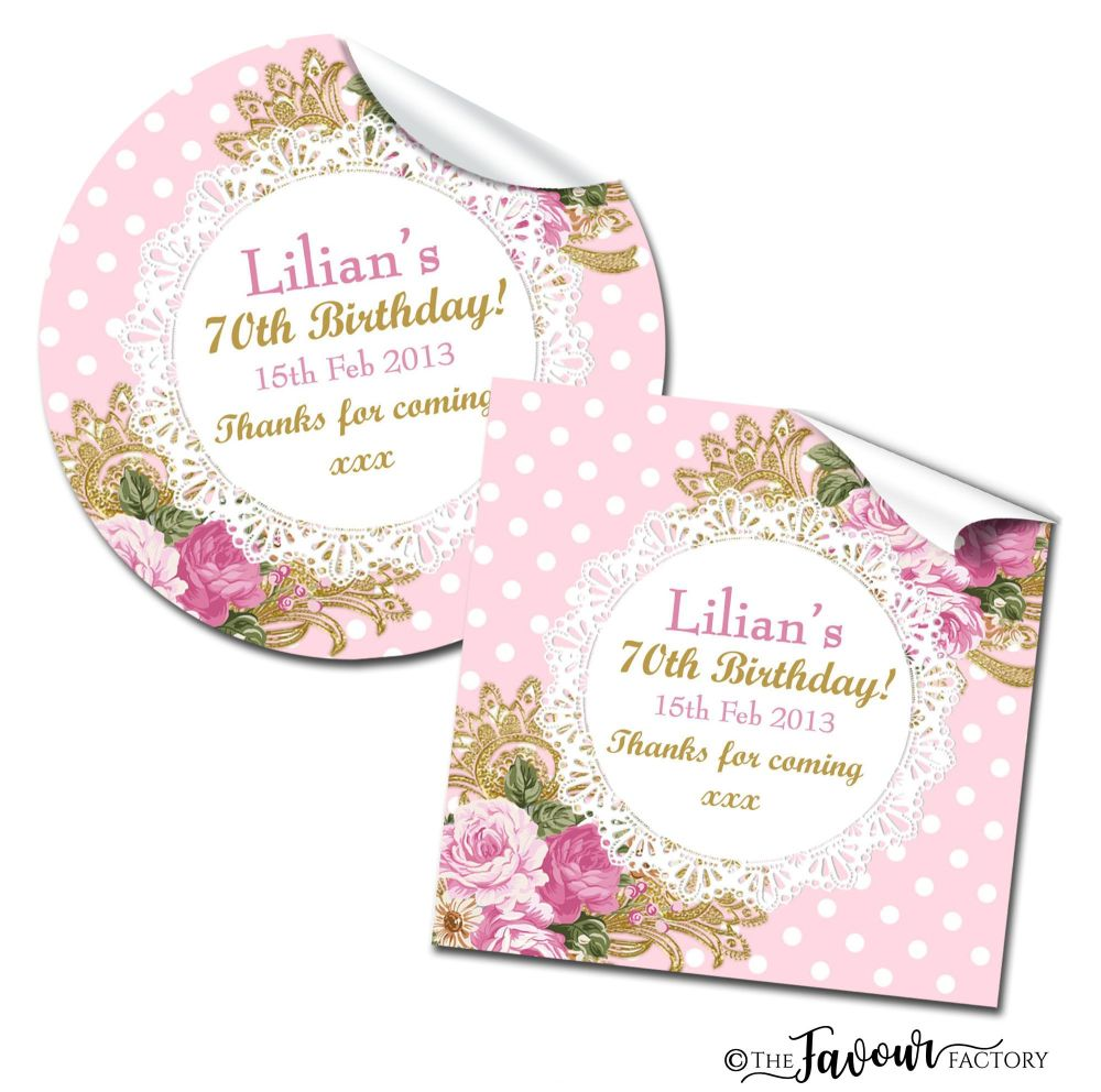 Personalised Happy Birthday Stickers Ornate Roses