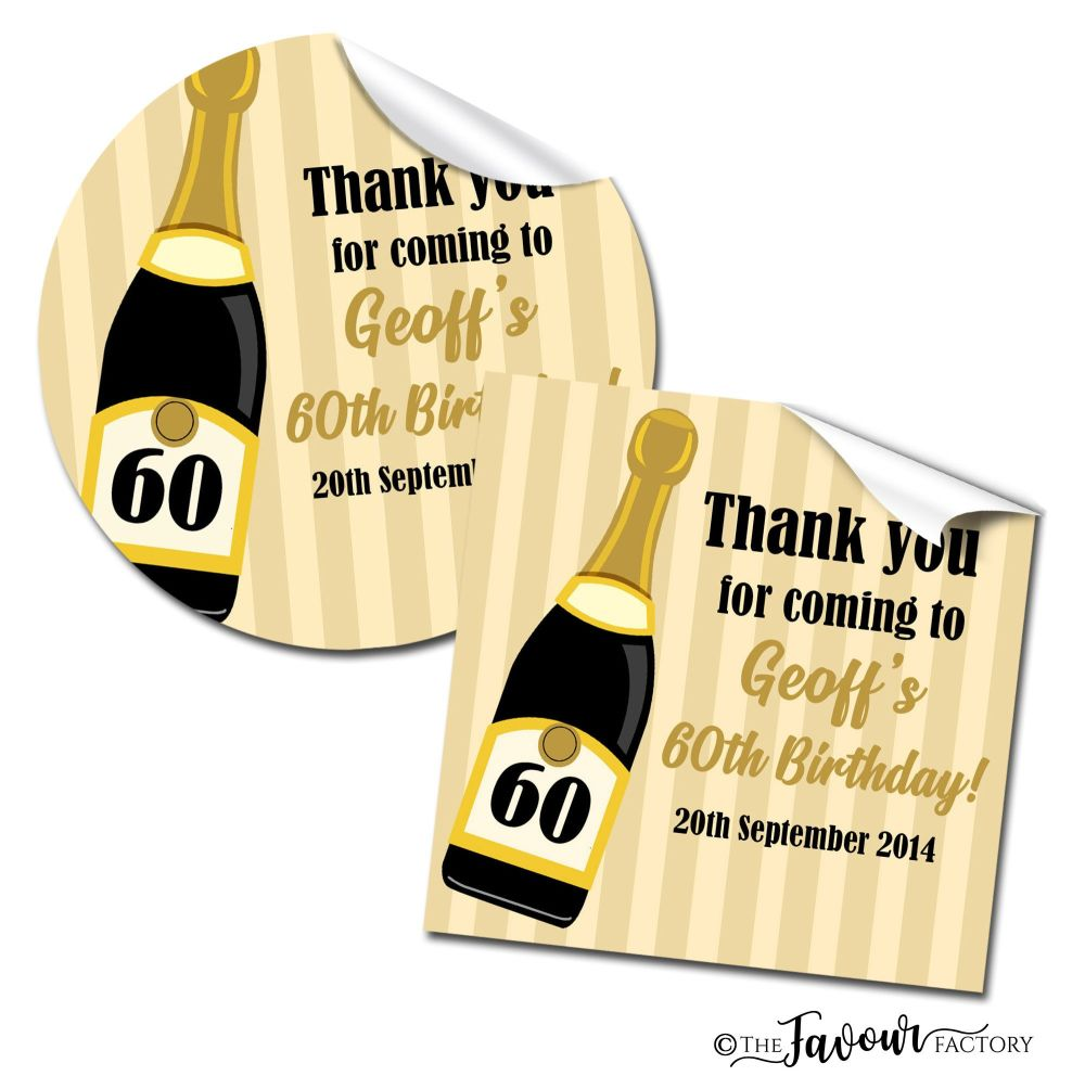 Personalised Happy Birthday Stickers Champagne Stripes