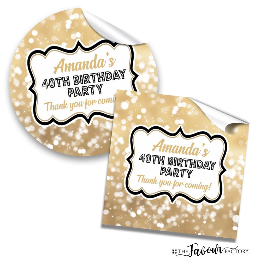 Bokeh Sparkles Adult Birthday Party Stickers