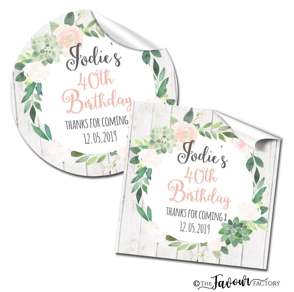 Floral Succulents Adult Birthday Party Stickers