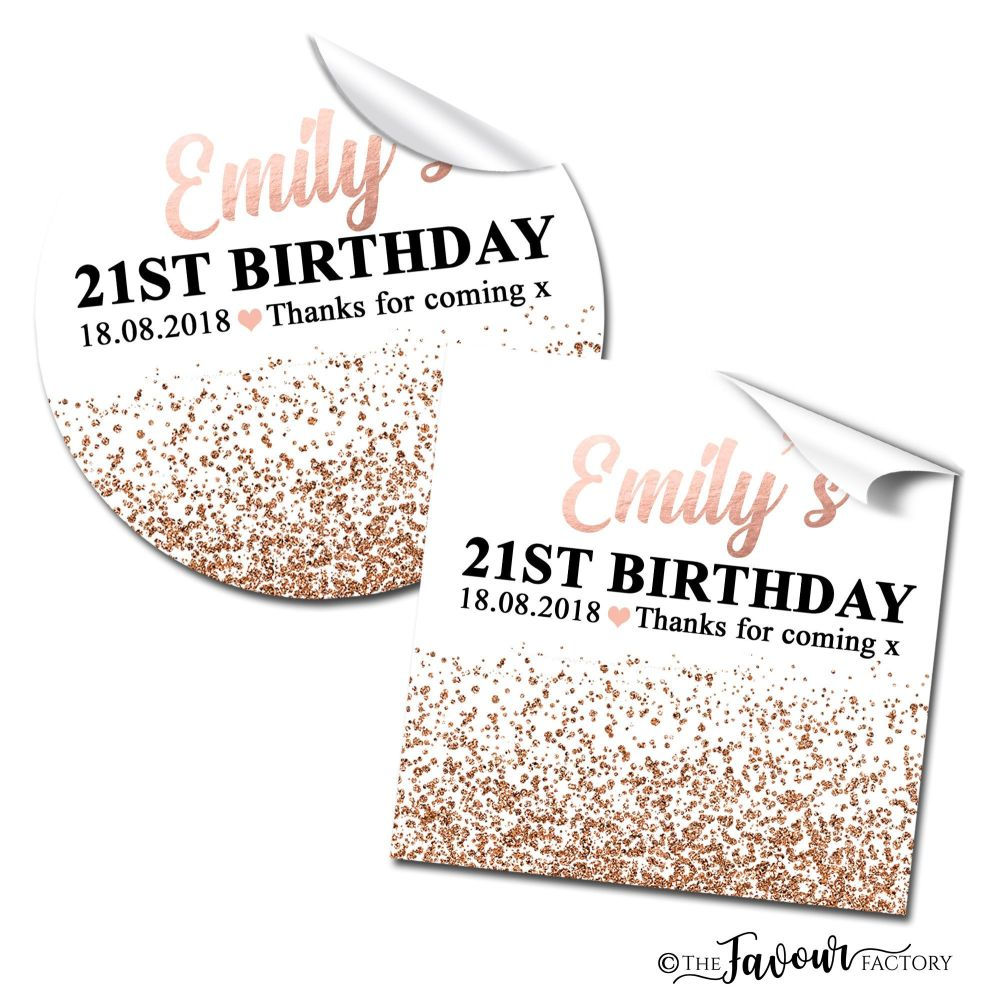 Personalised Happy Birthday Stickers Rose Gold Glitter Confetti